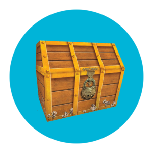a treasure chest over a blue circle